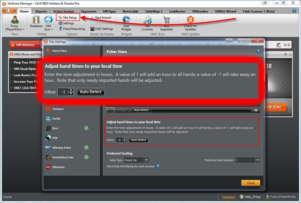 """Настройка правильного времени в разделе """"Adjust hand times"""" в Holdem Manager 2 для Titan Poker."""