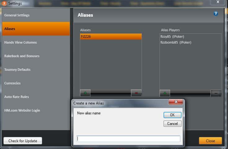 """Настройка """"Aliases"""" в Holdem Manager 2 для Titan Poker."""
