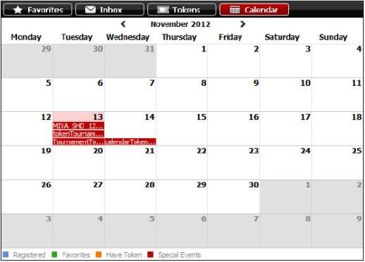 Покерный календарь в мобильном лобби Titan poker.