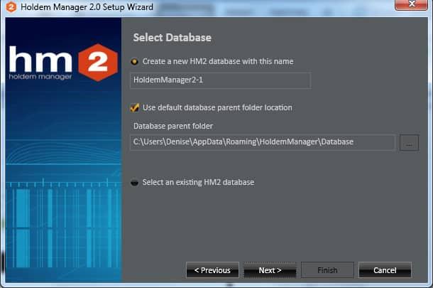 Создание новой базы данных Holdem Manager 2 для Titan Poker.