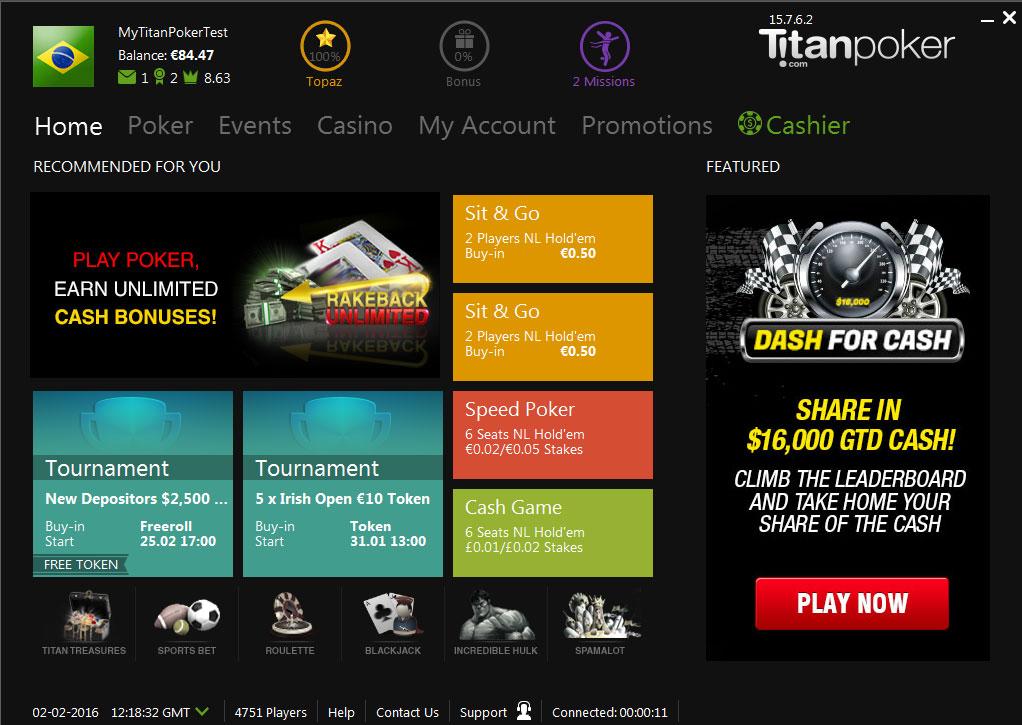 Форматы игр и кнопки в мобильном лобби Titan poker.