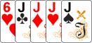 Каре в комбинации в покер.