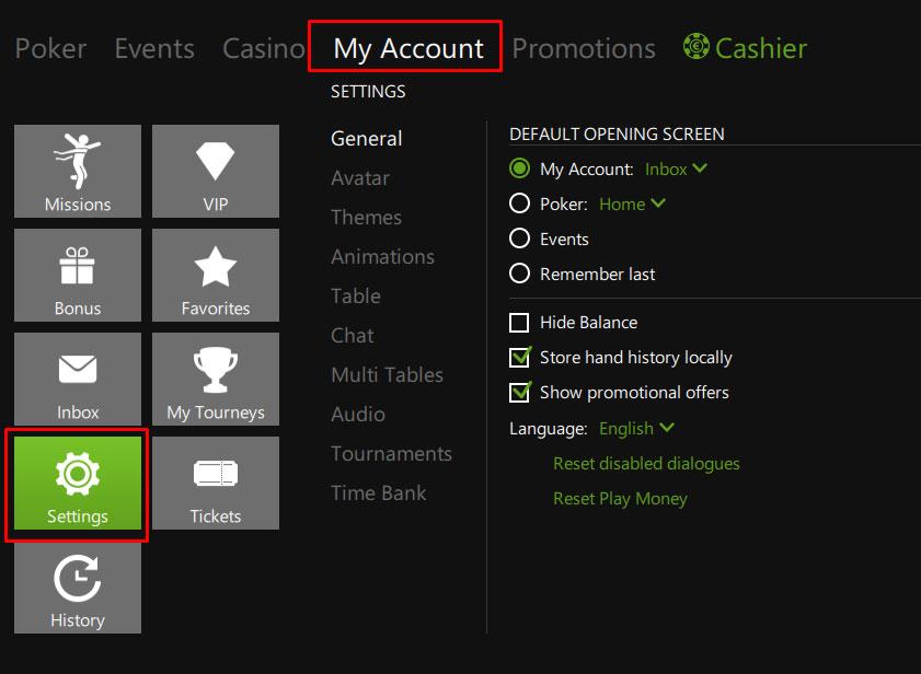 Настройки аккаунта в лобби клиента Titan poker.