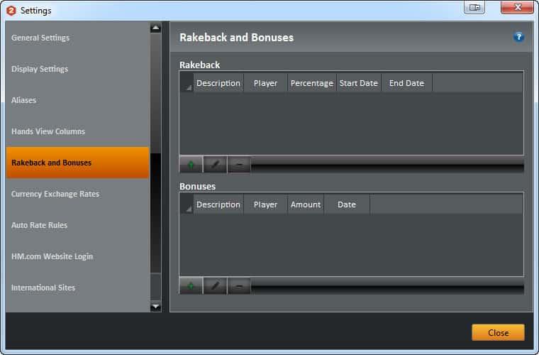 "Настройка ""Rakeback and Bonuses"" в Holdem Manager 2 для Titan Poker."