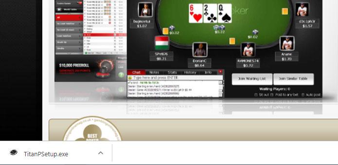 Скачивание на компьютер установочного exe-файла с сайта Titan poker.