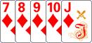Стрит-Флэш в комбинации в покер.