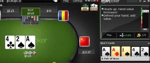 Калькулятор Titan Poker Mentor.