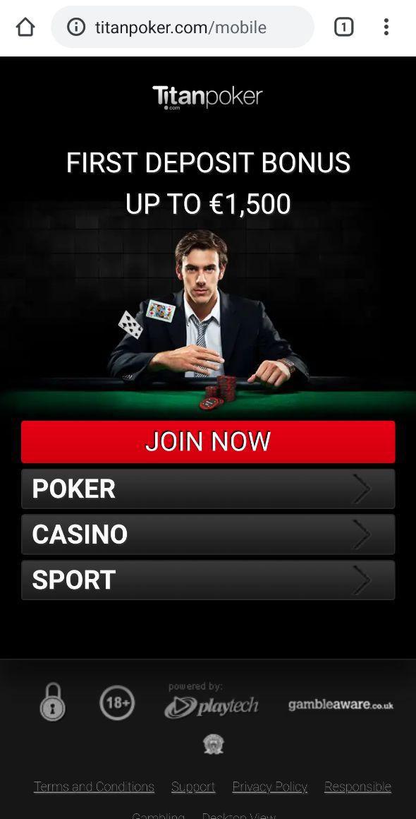 Сайт Titan poker на мобильном.