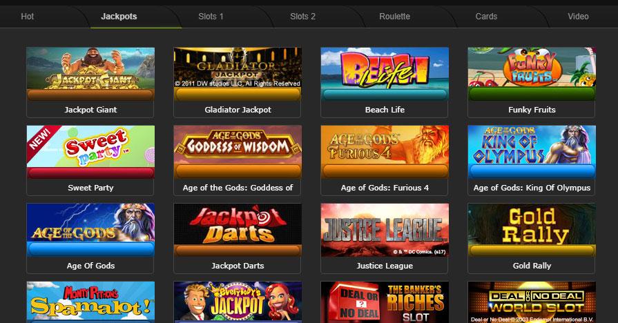 Вкладка Jackpots с джекпот-играми в Казино в клиенте Titan.