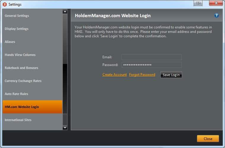 """Настройка """"HM.com Website Login"""" в Holdem Manager 2 для Titan Poker."""