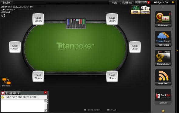 Информационные виджеты в мобильном лобби Titan poker.